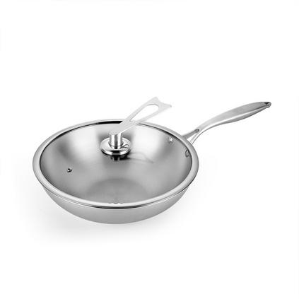 德鉑 奧伯斯炒鍋無油煙無涂層304不銹鋼炒鍋三層底物理不粘鍋DEP-273定制
