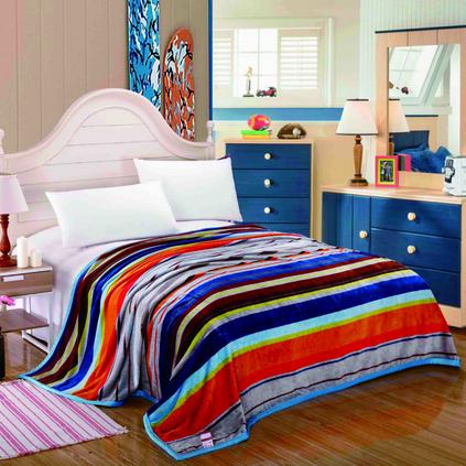 水星家纺 罗马假日毛毯-彩虹之约春秋毛毯午睡盖毯子定制108432
