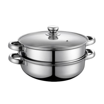 德鉑Debo不銹鋼鍋無涂層煮鍋玻璃蓋湯蒸兩用鍋26cmDEP-33定制