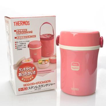 膳魔師(Thermos) 高真空不銹鋼保溫餐盒兒童成人高檔保溫帶飯盒定制 分層學生保溫桶保溫盒餐盒(帶布袋) JBC-800