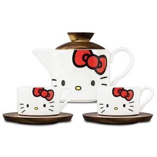 HELLO KITTY 凯蒂猫 创意陶瓷茶具一泡两杯套组 带托盘可爱卡通形象茶具套装定制