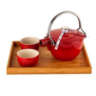 双立人Staub茶壶4件套套装(樱桃红)定制