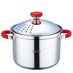 海爾炫彩經典歐式不銹鋼通用湯鍋煮鍋粉鍋燃氣電磁爐通用HL-YM01T02