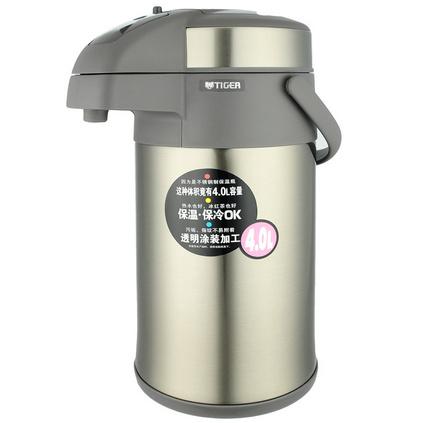 TIGER 虎牌 不锈钢气压式保温保冷瓶定制 气压式热水瓶清水办公用/家用暖壶保温瓶水瓶保温壶 MAA-A40C 4L