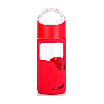 Luminarc 乐美雅 活力钢化玻璃隔热便携水杯随行杯定制320ml 单个装 玫红色