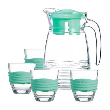 Luminarc 乐美雅 海岸线耐热钢化玻璃壶冷水壶凉水壶玻璃杯水杯五件套定制 薄荷绿 L6798
