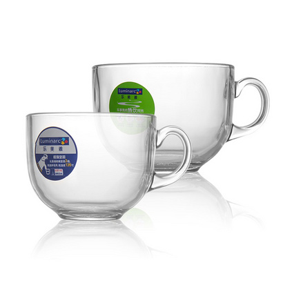 Luminarc 乐美雅 进口钢化玻璃可微波耐热创意可爱牛奶杯咖啡杯热饮杯定制