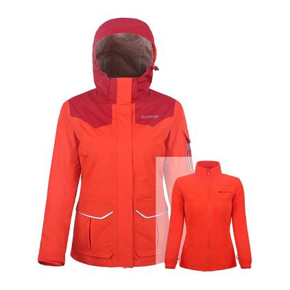 TOREAD探路者 TAWE92911  秋冬戶外女士沖鋒衣保暖套絨旅行兩件套定制