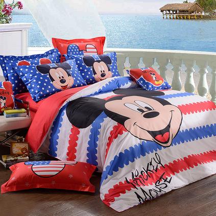 Disney 迪士尼 乐趣米奇长绒棉贡缎活性印花四件套定制 DSN15-005