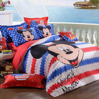 Disney 迪士尼 樂趣米奇長絨棉貢緞活性印花四件套定制 DSN15-005