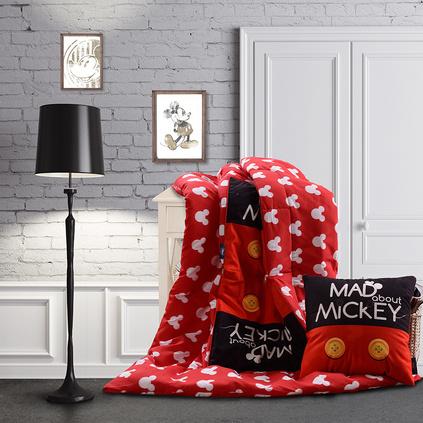 Disney 迪士尼暖和米奇抱枕被子两用多功能靠枕靠垫折叠午睡毯子空调被定制
