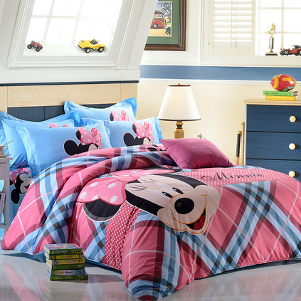 Disney 迪士尼儿童纯棉卡通四件套 幸福米妮磨毛家纺床上用品定制