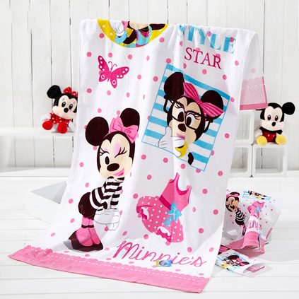Disney 迪士尼 彩虹米妮印花纯棉割绒浴巾亲肤柔软宝宝浴巾亚博体育app下载地址