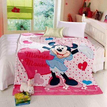 Disney/迪士尼儿童卡通法兰绒毛毯双层加厚婴儿云毯 午睡小毯子定制