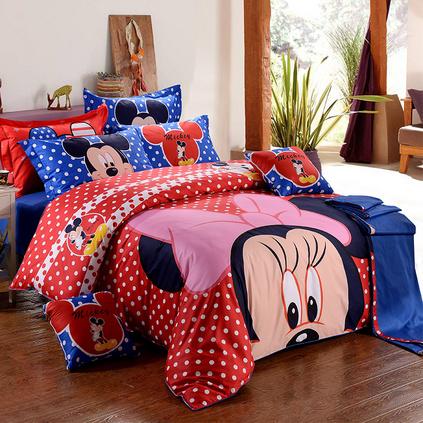 Disney/迪士尼兒童純棉卡通四件套相約米妮被套 家紡床上用品定制