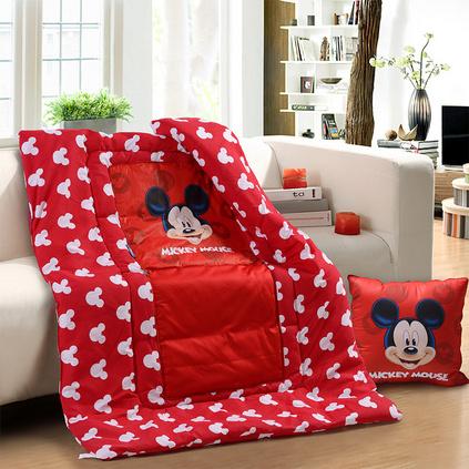 Disney 迪士尼 快乐米奇抱枕被子两用卡通抱枕被保暖盖被靠垫定制 DSN16-X026