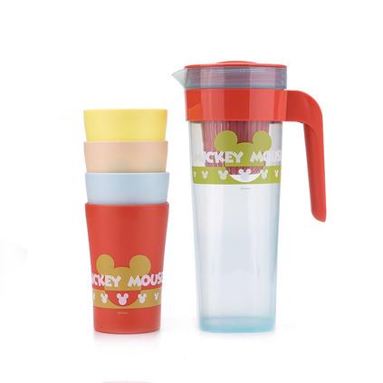Disney 迪士尼 凉水杯塑料果汁杯米奇缤纷乐园一壶四杯定制 DSM-AE003