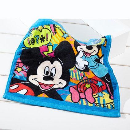 迪士尼 純棉兒童洗臉面巾米奇活力四射方巾定制(兩條裝)