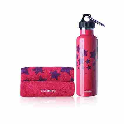 TAYOHYA 多樣屋 雙層不銹鋼星星保溫壺+運動巾套裝定制 TA210601224ZZ 玫紅色