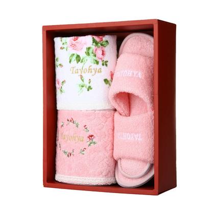 TAYOHYA多樣屋玫瑰俏佳人禮盒組毛巾拖鞋禮盒棉套裝定制