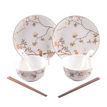 多样屋喜上眉梢碗碟筷勺8头骨瓷餐具组餐具套装定制