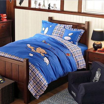 潔帛 熟睡的熊寶寶 純棉兒童貼布繡三件套定制