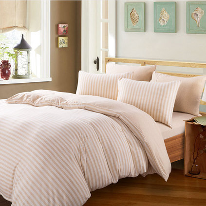 潔帛 米色條紋針織純棉四件套 純棉四件套床品件套定制