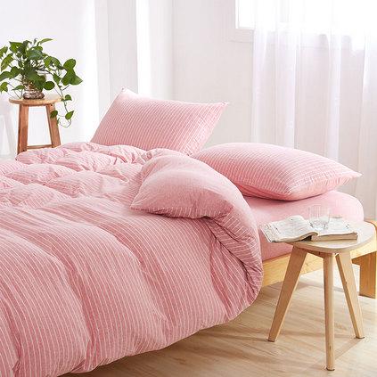 潔帛 粉條紋針織純棉四件套床上用品定制