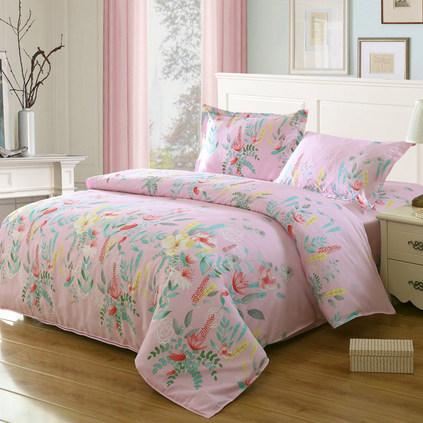 潔帛 1.5米&1.8床通用粉黛斜紋印花純棉四件套床品定制