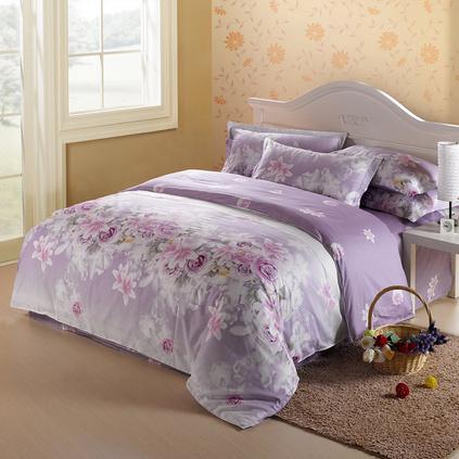 潔帛 紫色花海 1.5m和1.8m床斜紋印花純棉四件套床上用品定制