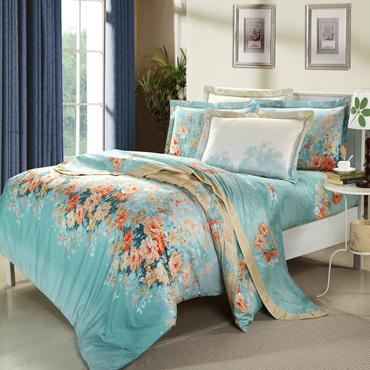 潔帛 繽紛葉語 斜紋印花純棉四件套 適合1.5m和1.8m床上使用 機房床品套裝定制