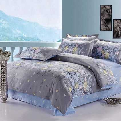 洁帛 迷迭香叶 斜纹印花纯棉四件套 适合1.5m和1.8m床品件套家纺用品定制