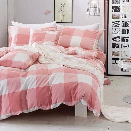 洁帛 馨逸粉水洗棉纯棉四件套 适合1.5和1.8m床使用床品定制