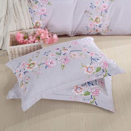 潔帛 優質面料枕套嬌艷印花枕套(一對)定制
