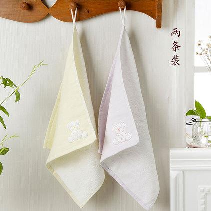 潔帛 考拉貼布繡純棉擦臉方巾毛巾手巾(兩只裝)定制