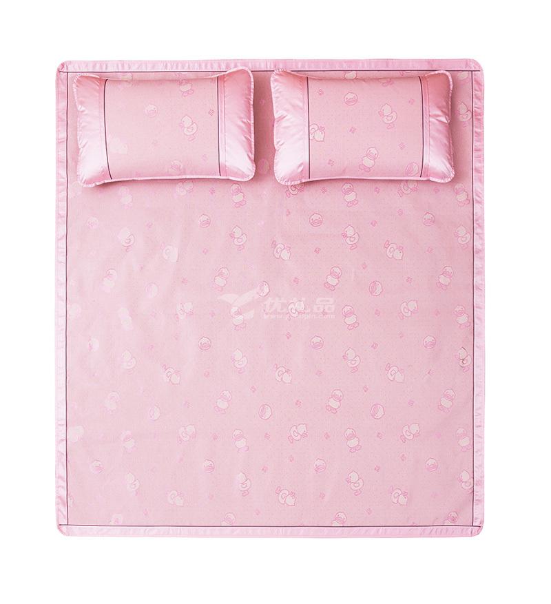 羅萊家紡lovo冰絲席子床品小黃鴨粉色夏日提花涼席三件套定制