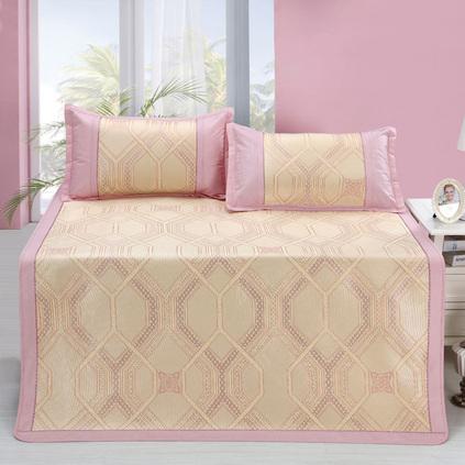 罗莱家纺 折叠夏天1.5m1.8米床席子可水凉席冰丝席三件套定制
