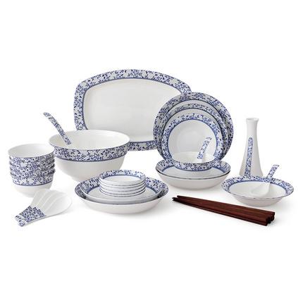 ABS爱彼此 Blue优雅青花系列36头骨瓷餐具礼盒套装定制