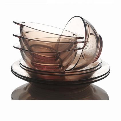 康宁 家用玻璃晶彩透明餐具八件套装定制