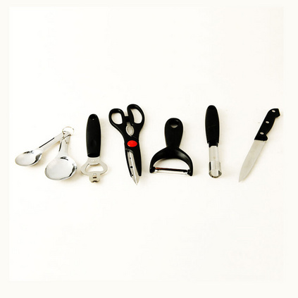 ASD 爱仕达不锈钢厨房工具六件套定制ZPGJ06量匙 汽水抽 厨房剪 瓜刨 水果刀 果心抽组合套装定制