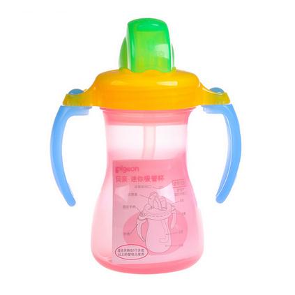 pigeon 貝親 可旋轉雙手柄迷你吸管杯定制 迷你吸水杯吸管杯訓練杯飲水杯寶寶水杯練習杯 DA45DA46DA47