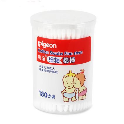 pigeon 貝親 寶寶細軸棉簽180支盒棉定制 新生兒棉棒細軸型耳鼻清潔棉球棒 KA01