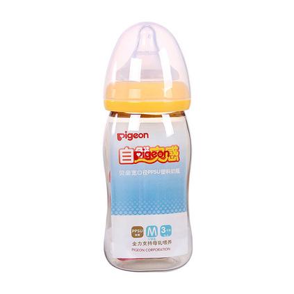 pigeon 贝亲 自然实感宽口径 PPSU奶瓶亚博体育app下载地址 宽口径婴儿防摔奶瓶 自然实感宝宝奶瓶 240ml AA74 AA75