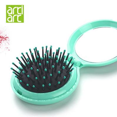 台湾Artiart便携折叠梳子随身可爱防静电塑料按摩梳小镜子套装定制