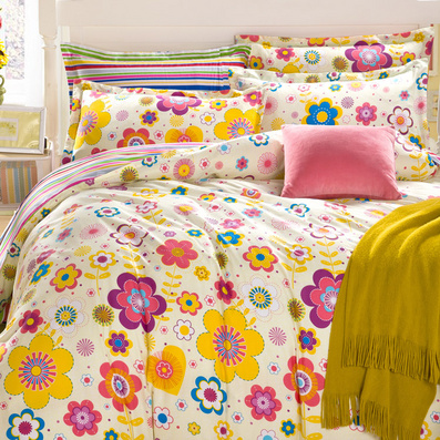 潔帛 黃莉斜紋印花純棉四件套 1.5米&1.8床通用床上用品定制