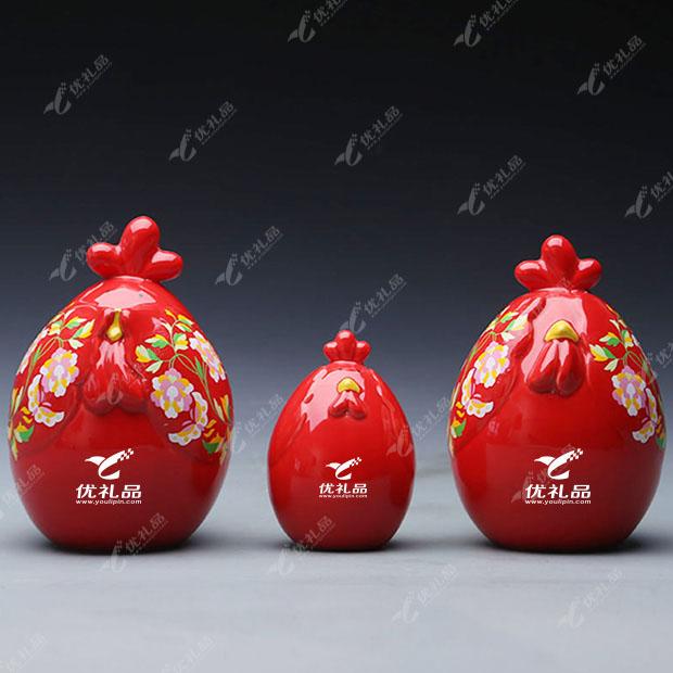 陶瓷摆件工艺品 发财鸡全家福