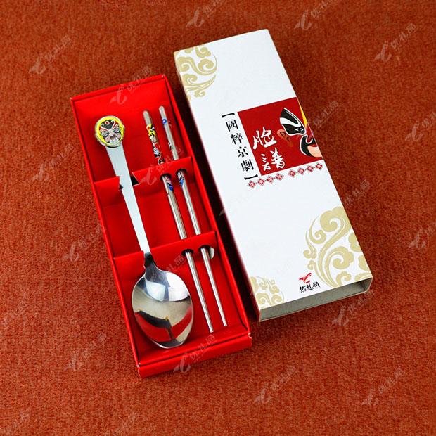 中国风京剧脸谱不锈钢餐具两件套