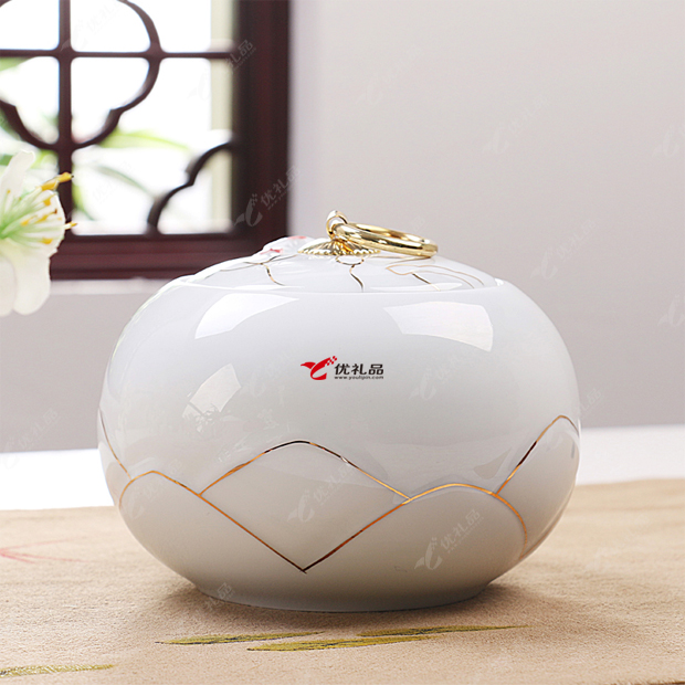 精品礼盒白瓷描金陶瓷茶叶罐