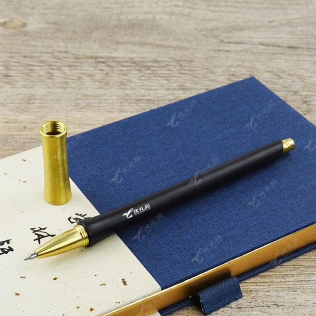 胸有成竹紫光檀黄铜签字笔