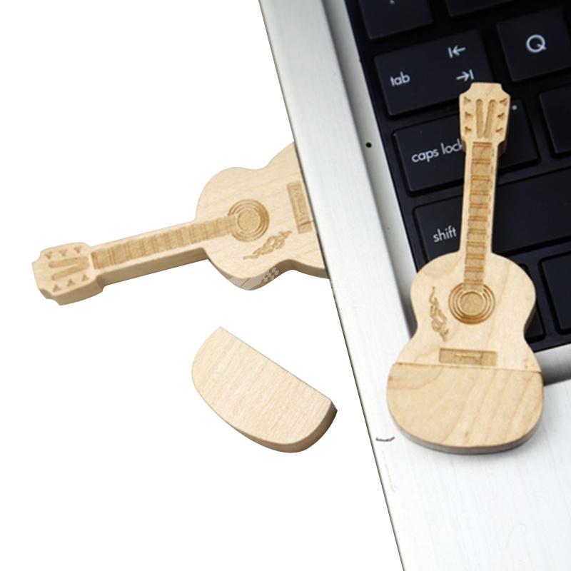 新款创意木质木头吉它u盘